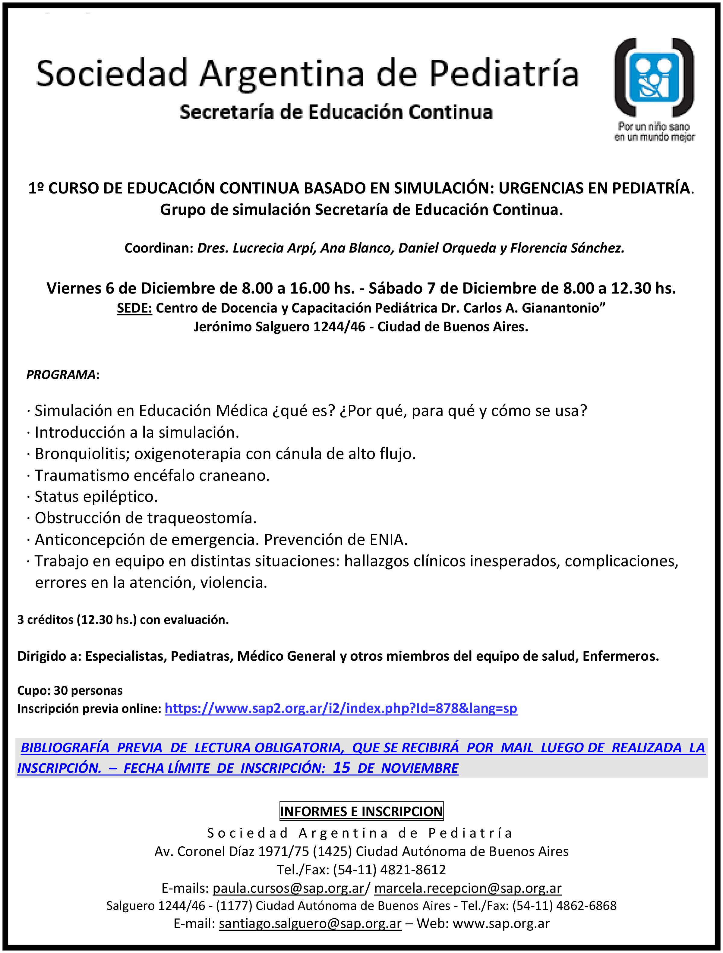 Sociedad Argentina De Pediatria Educacion Continua Actividades Presenciales 1º Curso De Educacion Continua Basado En Simulacion Urgencias En Pediatria